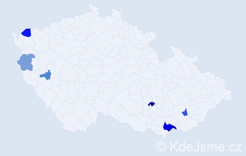 Příjmení: 'Kurzer', počet výskytů 12 v celé ČR