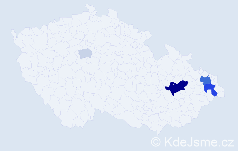 Příjmení: 'Erdös', počet výskytů 6 v celé ČR