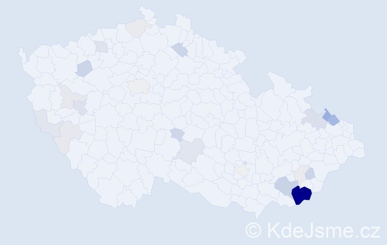 Příjmení: 'Kelíšková', počet výskytů 80 v celé ČR