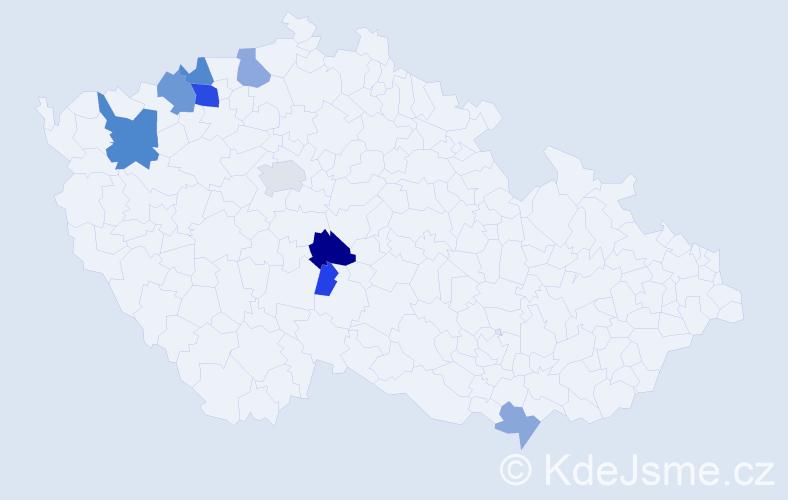 Příjmení: 'Dojáček', počet výskytů 34 v celé ČR
