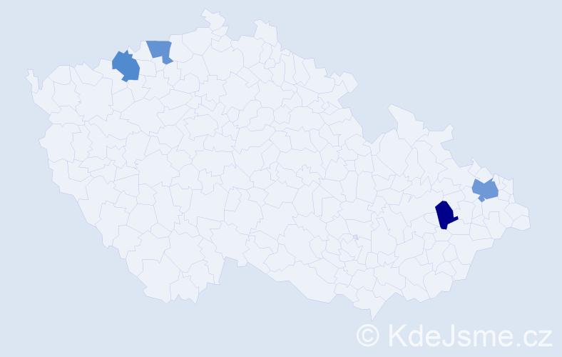 Příjmení: 'Kríž', počet výskytů 5 v celé ČR