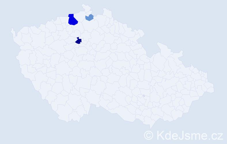 Příjmení: 'Jelačičová', počet výskytů 12 v celé ČR