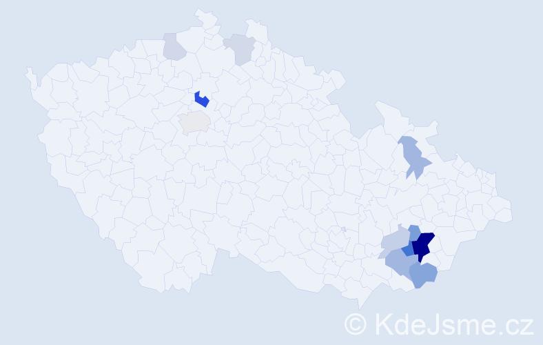 Příjmení: 'Hamrlík', počet výskytů 30 v celé ČR