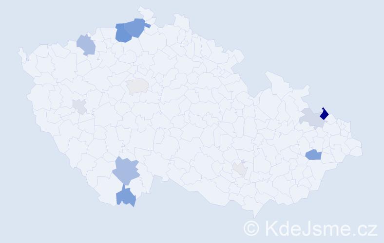 Příjmení: 'Hanuschová', počet výskytů 27 v celé ČR