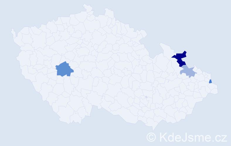 Příjmení: 'Cwiertková', počet výskytů 7 v celé ČR