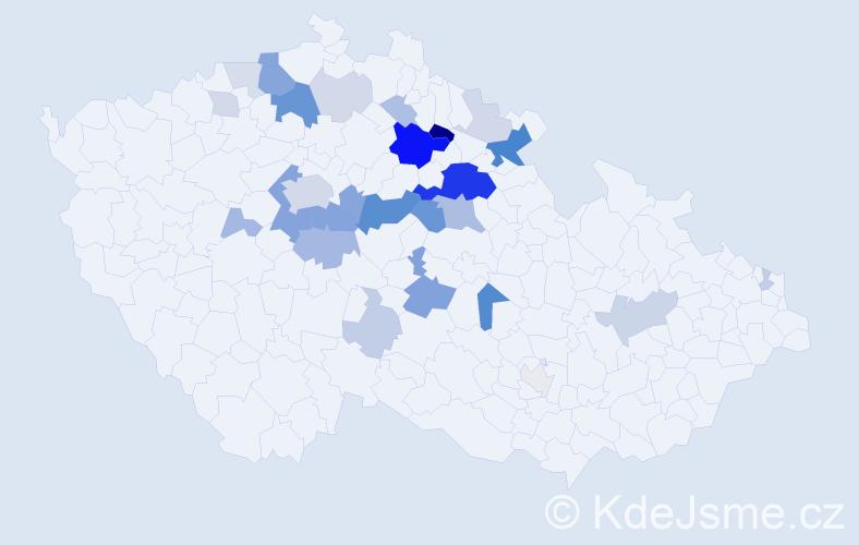Příjmení: 'Kejklíček', počet výskytů 92 v celé ČR