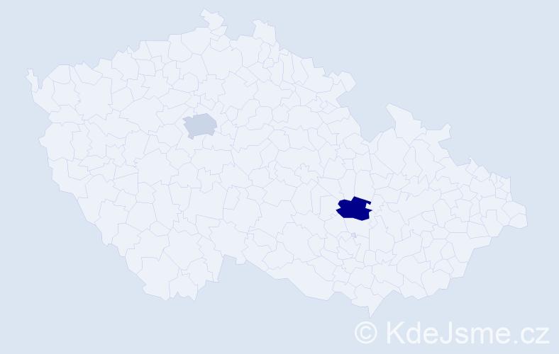 Příjmení: 'Bertrandová', počet výskytů 2 v celé ČR