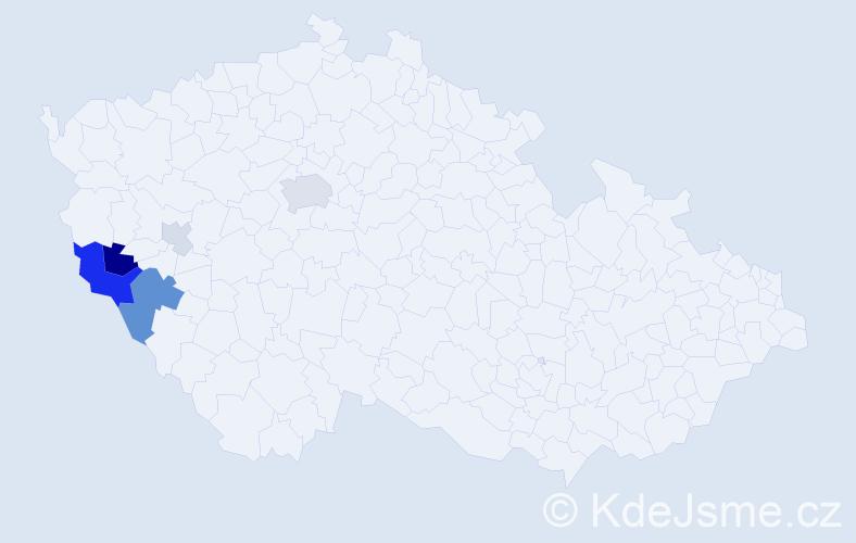 Příjmení: 'Groessl', počet výskytů 14 v celé ČR