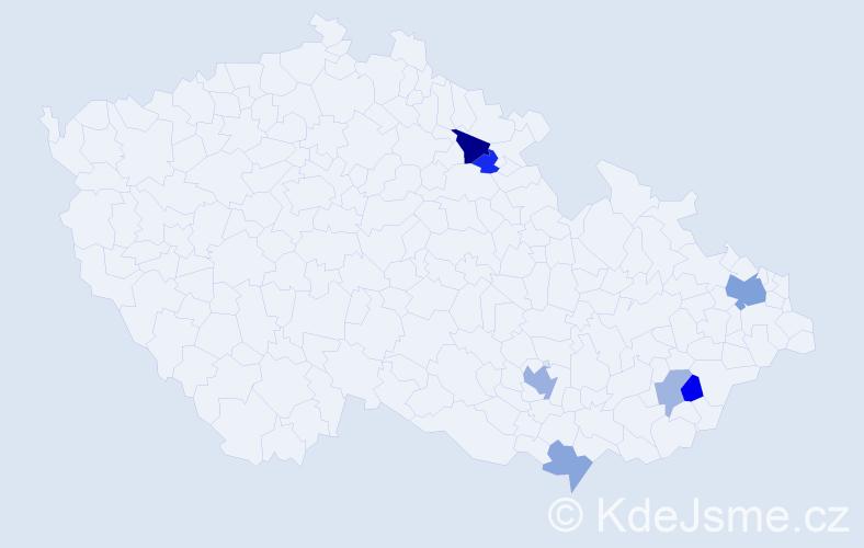 Příjmení: 'Grúňová', počet výskytů 13 v celé ČR