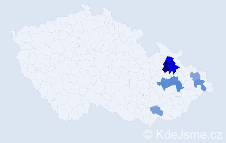 Příjmení: 'Coritar', počet výskytů 13 v celé ČR