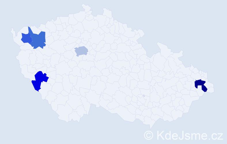 Příjmení: 'Hlásny', počet výskytů 7 v celé ČR