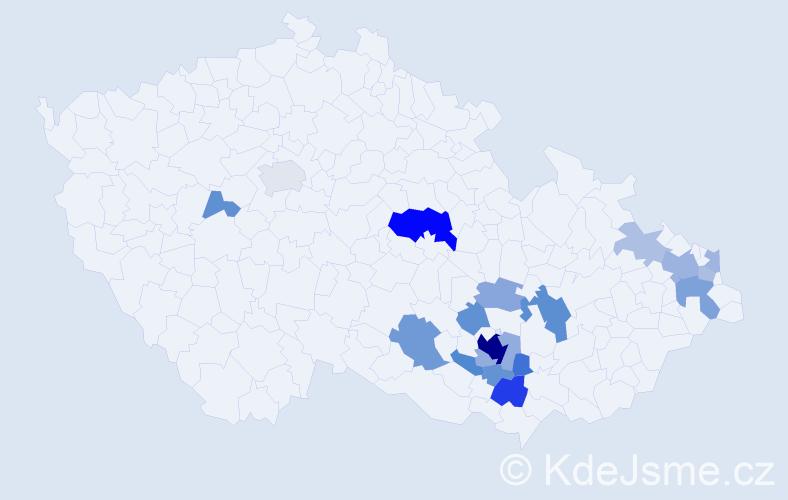 Příjmení: 'Glozar', počet výskytů 49 v celé ČR