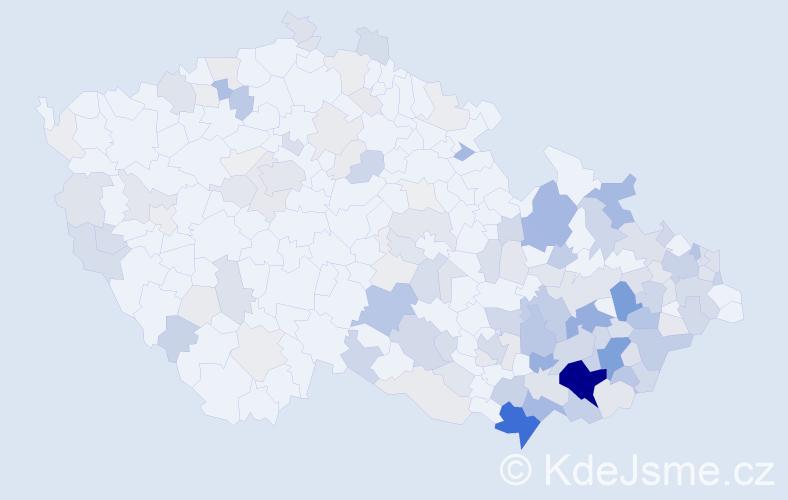 Příjmení: 'Bartošík', počet výskytů 565 v celé ČR