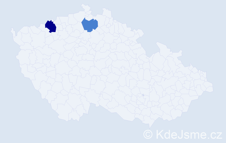 Příjmení: 'Kisty', počet výskytů 9 v celé ČR