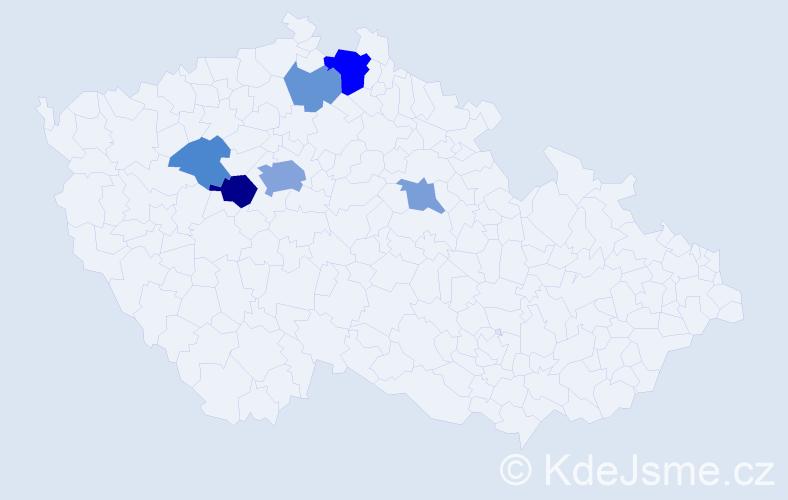 Příjmení: 'Domažlická', počet výskytů 14 v celé ČR