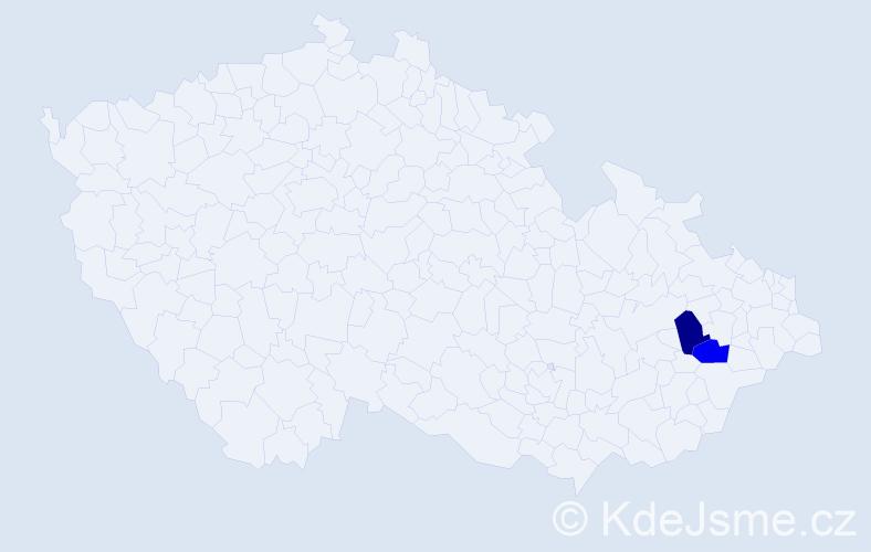 Příjmení: 'Klváčová', počet výskytů 2 v celé ČR