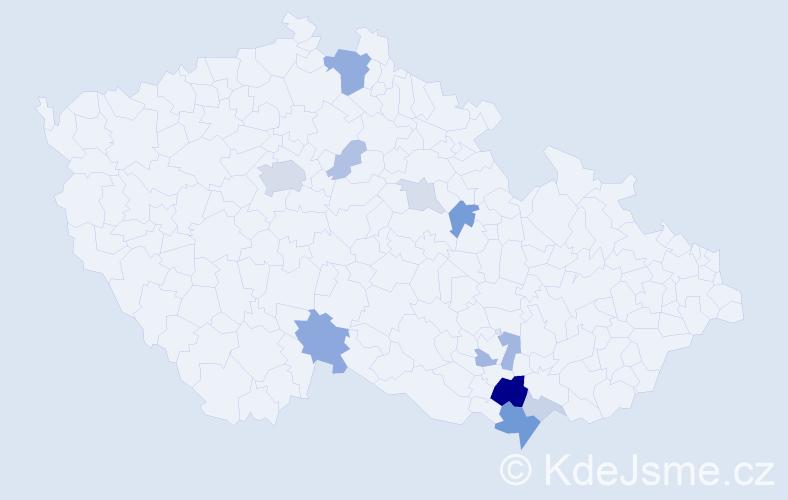 Příjmení: 'Kabriel', počet výskytů 32 v celé ČR