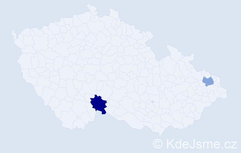 Příjmení: 'Egyegová', počet výskytů 2 v celé ČR