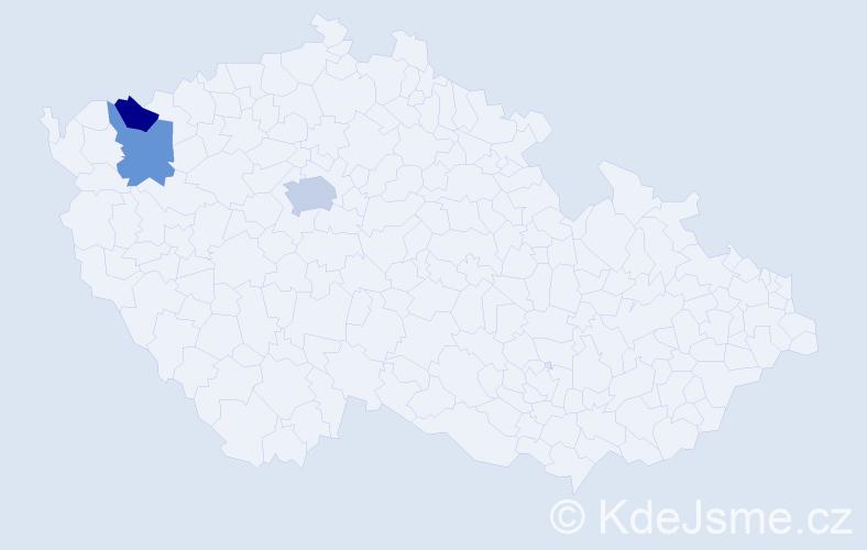 Příjmení: 'Krakl', počet výskytů 4 v celé ČR