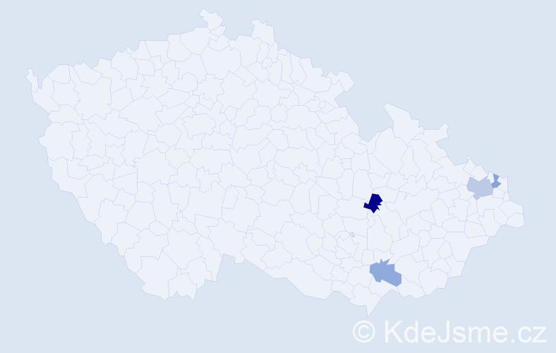 Příjmení: 'Jurkovcová', počet výskytů 5 v celé ČR
