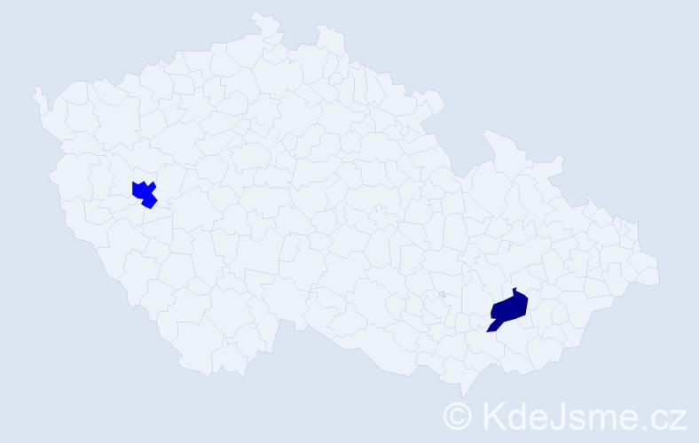 Příjmení: 'Gosteli', počet výskytů 5 v celé ČR