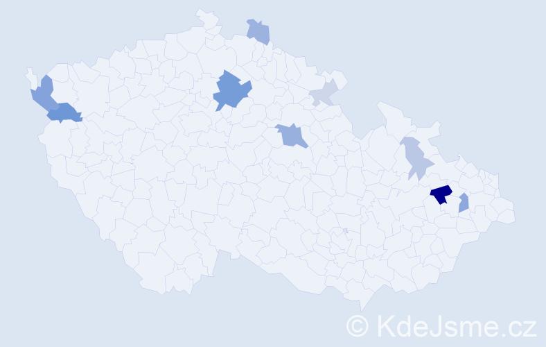 Příjmení: 'Hadari', počet výskytů 24 v celé ČR