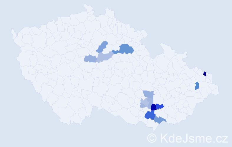 Příjmení: 'Knapcová', počet výskytů 24 v celé ČR