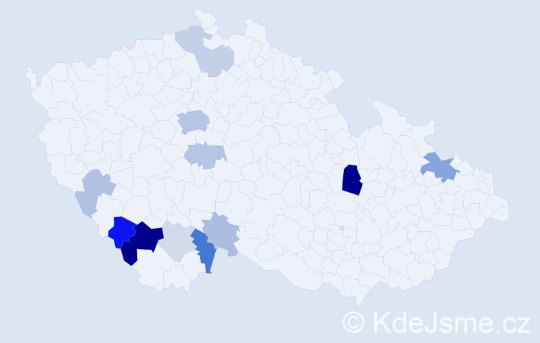 Příjmení: 'Amortová', počet výskytů 34 v celé ČR