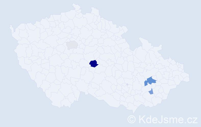 Příjmení: 'Bomer', počet výskytů 8 v celé ČR