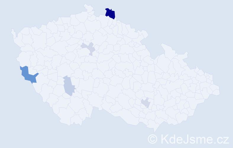 Příjmení: 'Hardy', počet výskytů 13 v celé ČR