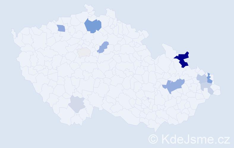 Příjmení: 'Lazárová', počet výskytů 26 v celé ČR