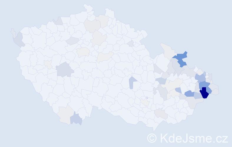 Příjmení: 'Janošec', počet výskytů 265 v celé ČR