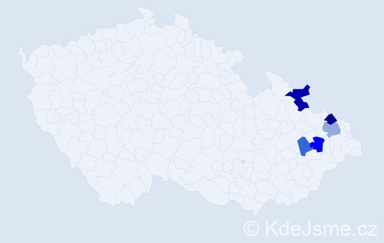 Příjmení: 'Gúber', počet výskytů 9 v celé ČR