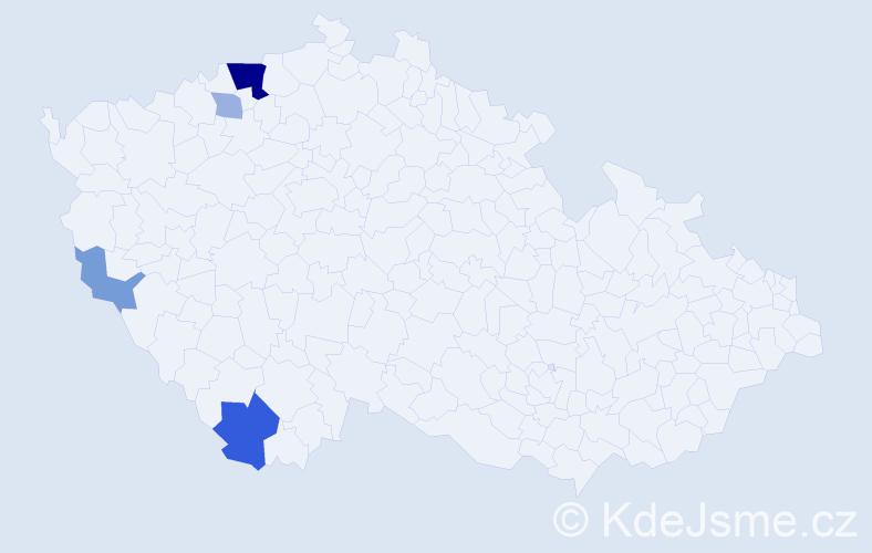 Příjmení: 'Erl', počet výskytů 11 v celé ČR