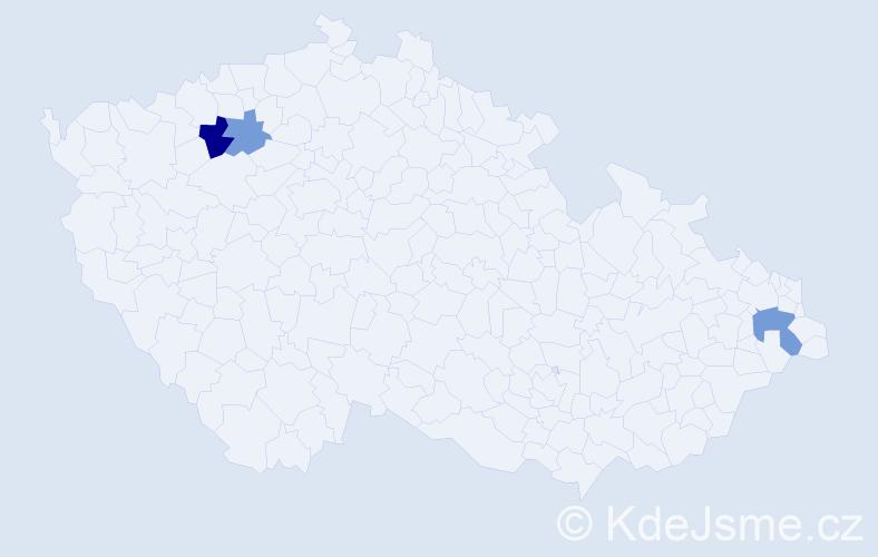 Příjmení: 'Bartozela', počet výskytů 5 v celé ČR