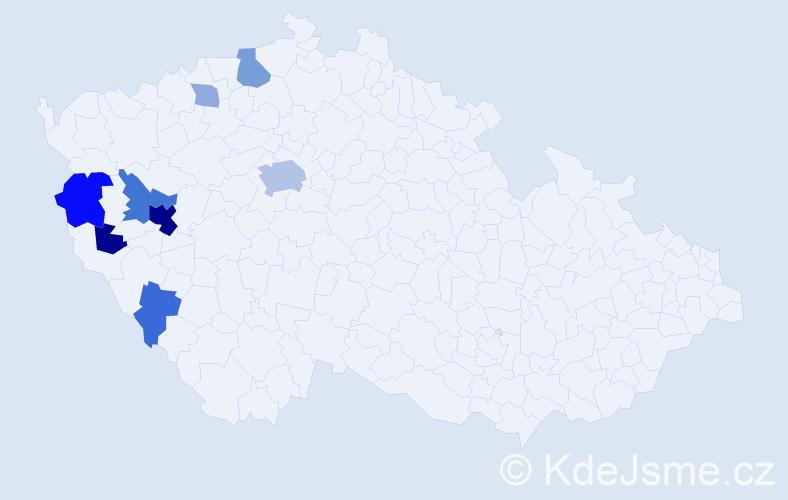 Příjmení: 'Landštof', počet výskytů 24 v celé ČR
