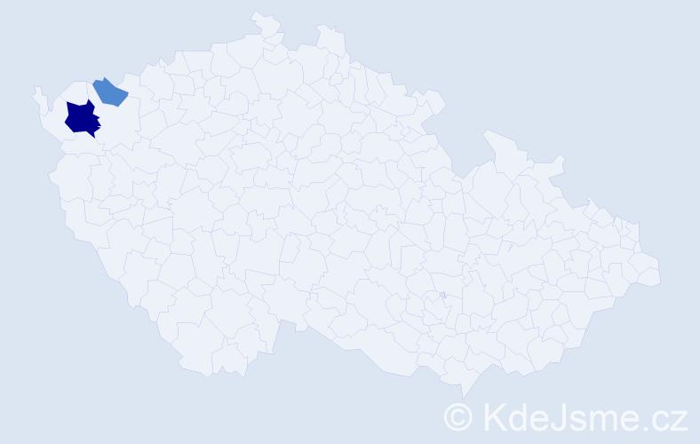 Příjmení: 'Anselm', počet výskytů 6 v celé ČR