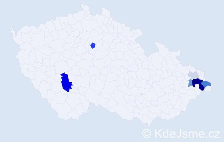 Příjmení: 'Holexa', počet výskytů 14 v celé ČR