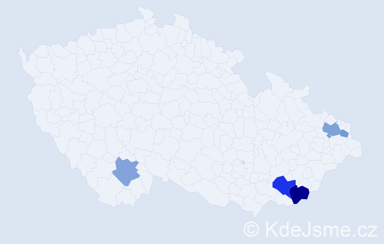 Příjmení: 'Čičel', počet výskytů 8 v celé ČR