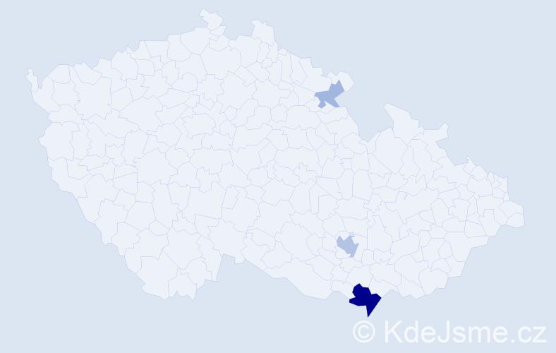 Příjmení: 'Ilkovičová', počet výskytů 10 v celé ČR