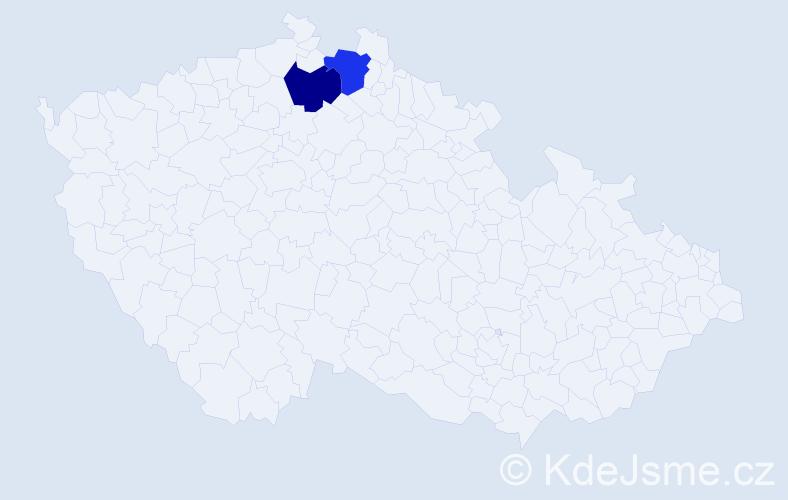 Příjmení: 'Janessová', počet výskytů 2 v celé ČR