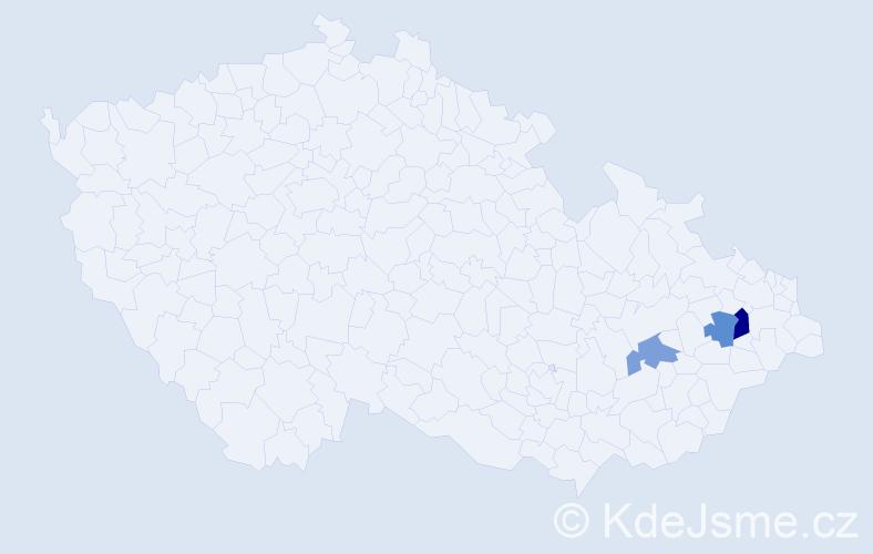Příjmení: 'Iklová', počet výskytů 4 v celé ČR
