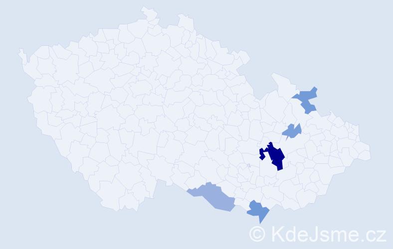 Příjmení: 'Entlová', počet výskytů 20 v celé ČR