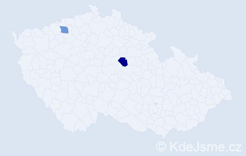 """Příjmení: '""""Culková Vaňková""""', počet výskytů 2 v celé ČR"""
