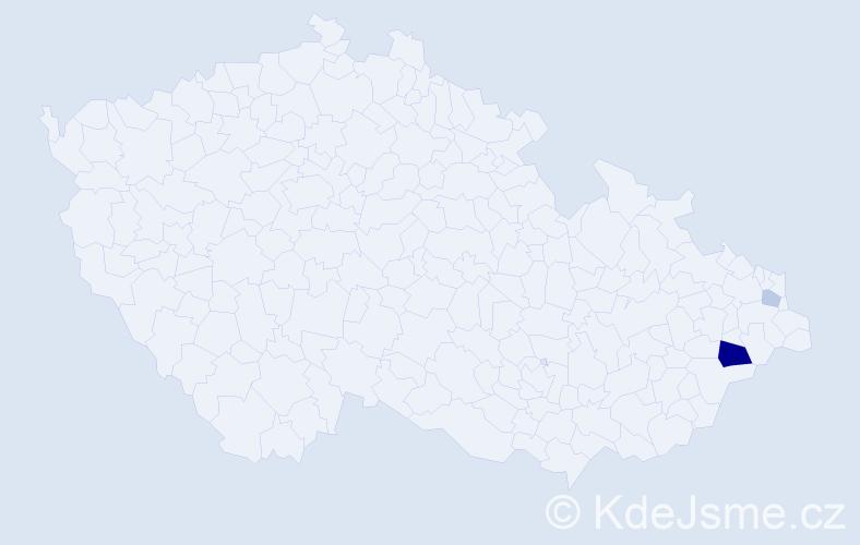 Příjmení: 'Kacler', počet výskytů 5 v celé ČR