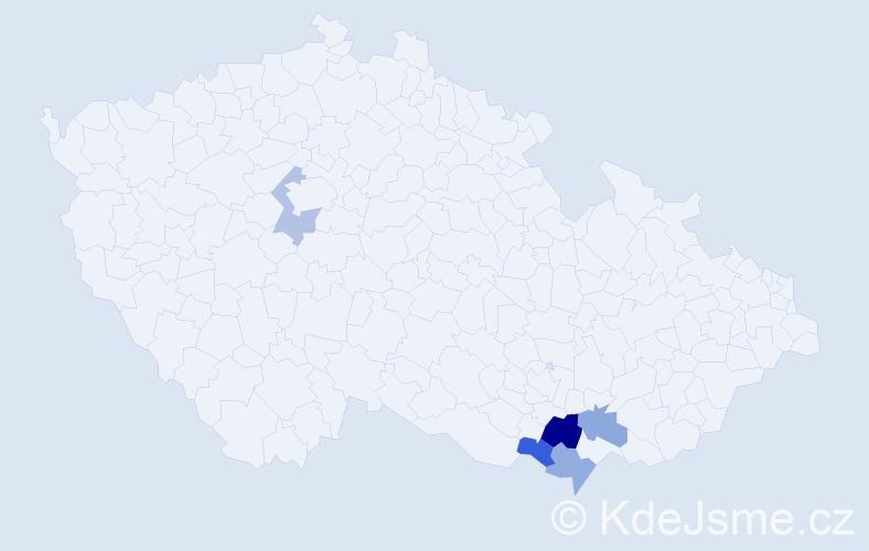 Příjmení: 'Húšková', počet výskytů 7 v celé ČR