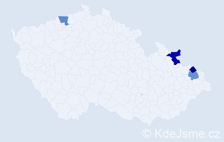 Příjmení: 'Canalová', počet výskytů 5 v celé ČR