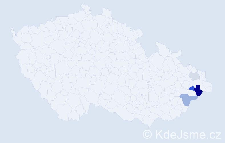 Příjmení: 'Ištvanechová', počet výskytů 5 v celé ČR