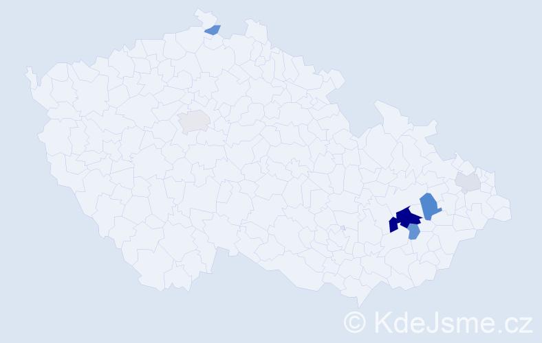 Příjmení: 'Kaďorková', počet výskytů 16 v celé ČR