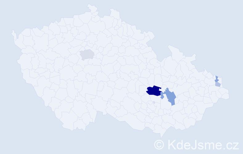 Příjmení: 'Halečka', počet výskytů 12 v celé ČR